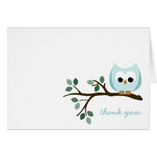 Carte de remerciements bleu de hibou