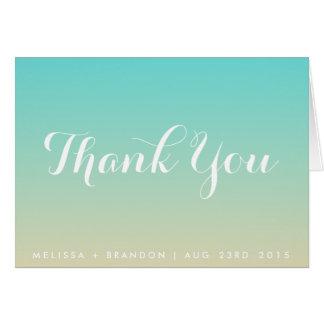 Carte de remerciements bleu de mariage de plage de