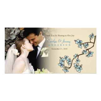 Carte de remerciements bleu de mariage de Sakura Modèle Pour Photocarte