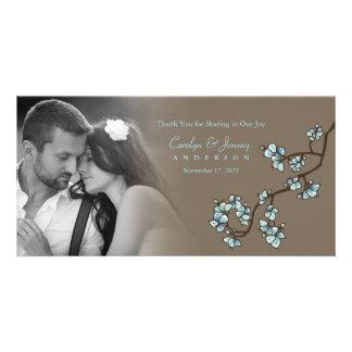 Carte de remerciements bleu de mariage de Sakura Cartes De Vœux Avec Photo