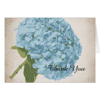 Carte de remerciements bleu de mariage d'hortensia
