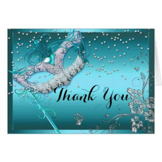 Carte de remerciements bleu de mascarade d'étincel