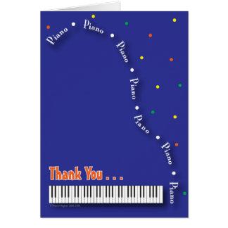 Carte de remerciements bleu de piano