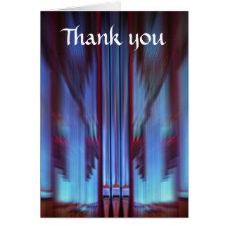 Carte de remerciements bleu de tuyaux d'organe