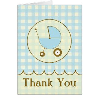 Carte de remerciements bleu de voiture d'enfant de
