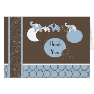 Carte de remerciements bleu d'éléphant