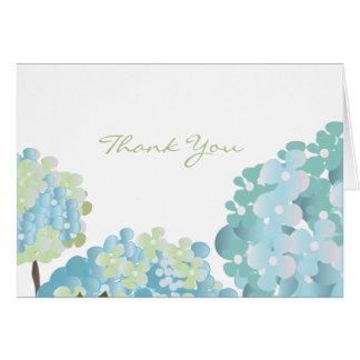 Carte de remerciements bleu d'hortensia