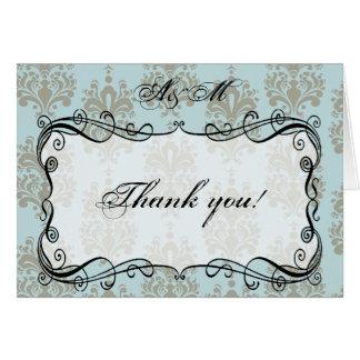 Carte de remerciements bleu et gris de monogramme