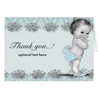 Carte de remerciements bleu vintage de baby shower
