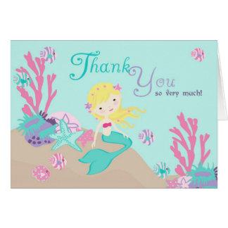 Carte de remerciements blond de sirène