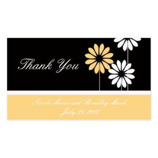 Carte de remerciements crème noir de mariage de carte de visite standard
