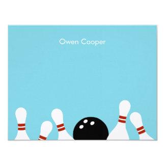 Carte de remerciements d'amusement de bowling cartons d'invitation personnalisés