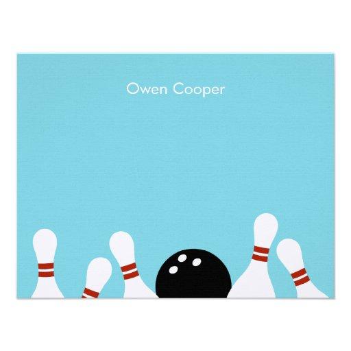 Carte de remerciements d'amusement de bowling (tur cartons d'invitation personnalisés