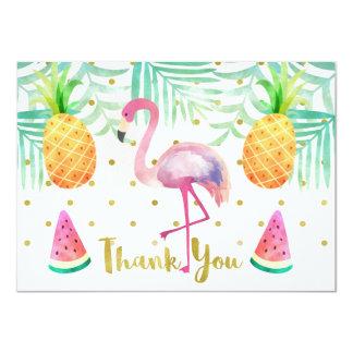 Carte de remerciements d'anniversaire de flamant carton d'invitation  11,43 cm x 15,87 cm