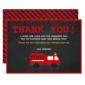 Carte de remerciements d'anniversaire de pompier