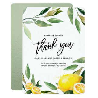 Carte de remerciements d'aquarelle de citron carton d'invitation  12,7 cm x 17,78 cm