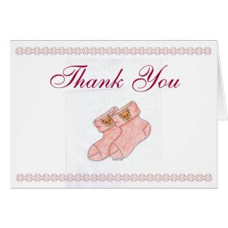 Carte de remerciements de baby shower avec des but
