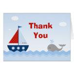 Carte de remerciements de baby shower de bateau