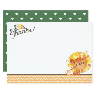 Carte de remerciements de baby shower de lion de