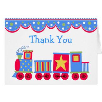 Carte de remerciements de bébé de train de jouet
