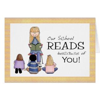 Carte de remerciements de bibliothécaire d'école