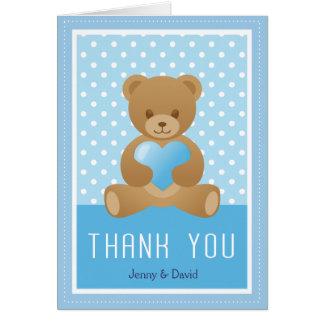 Carte de remerciements de bleu d'ours de nounours