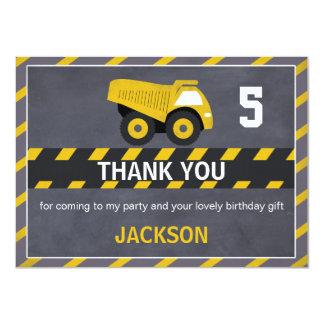 Carte de remerciements de camion de construction
