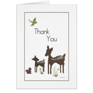 Carte de remerciements de cerfs communs de maman
