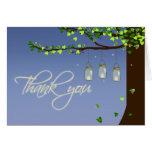 Carte de remerciements de chêne de lucioles de pot
