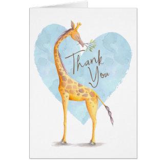 Carte de remerciements de coeur de girafe