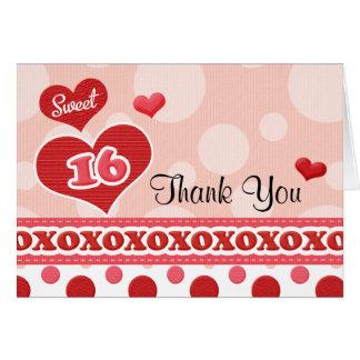 Carte de remerciements de coeur de sweet sixteen