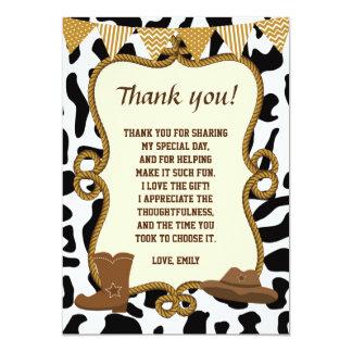 Carte de remerciements de cowboy occidental carton d'invitation  12,7 cm x 17,78 cm