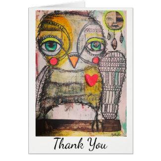 Carte de remerciements de hibou