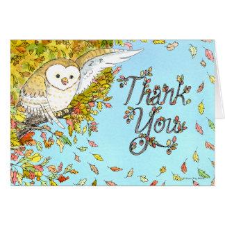 Carte de remerciements de hibou d'automne