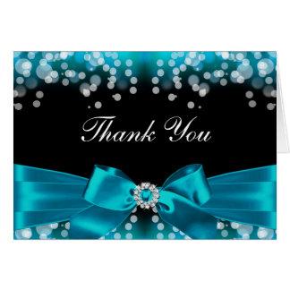 Carte de remerciements de joli arc turquoise et