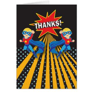 Carte de remerciements de jumeaux du super héros |