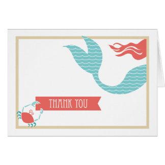 Carte de remerciements de la partie | de sirène
