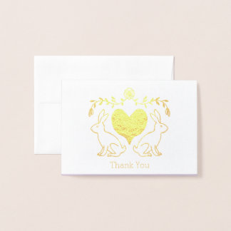 Carte de remerciements de lapin et de coeur
