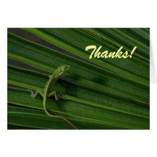 Carte de remerciements de lézard vert