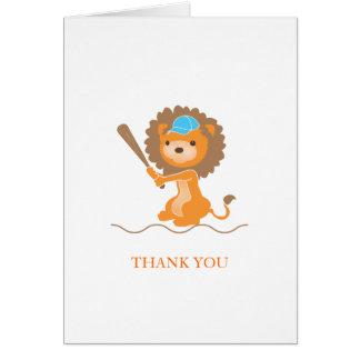 Carte de remerciements de lion de base-ball
