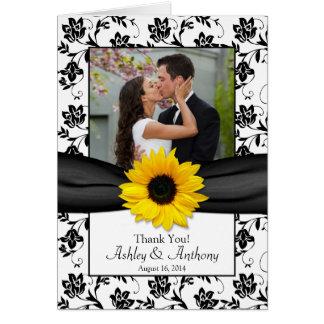 Carte de remerciements de mariage damassé de