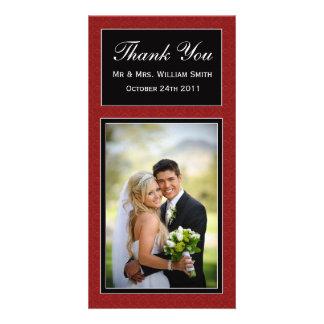 Carte de remerciements de mariage damassé photocartes