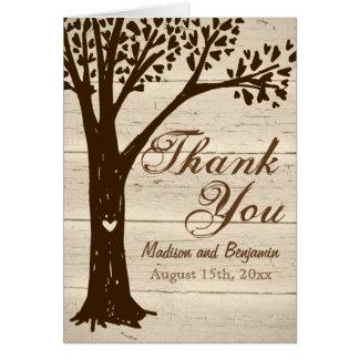 Carte de remerciements de mariage d'arbre découpé