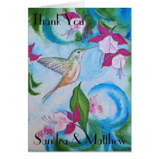 Carte de remerciements de mariage de colibri et de
