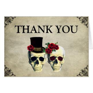Carte de remerciements de mariage de crâne de