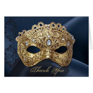 Carte de remerciements de mariage de mascarade de