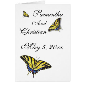 Carte de remerciements de mariage de papillon de