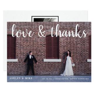 Carte de remerciements de mariage de photo d'amour