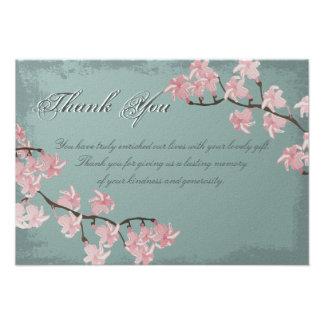 Carte de remerciements de mariage - fleurs de ceri bristol personnalisé