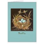 carte de remerciements de nid d'oiseau